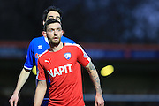 Goalscorer Jay O'Shea during the Sky Bet League 1 match between Rochdale and Chesterfield at Spotland, Rochdale, England on 9 January 2016. Photo by Daniel Youngs.