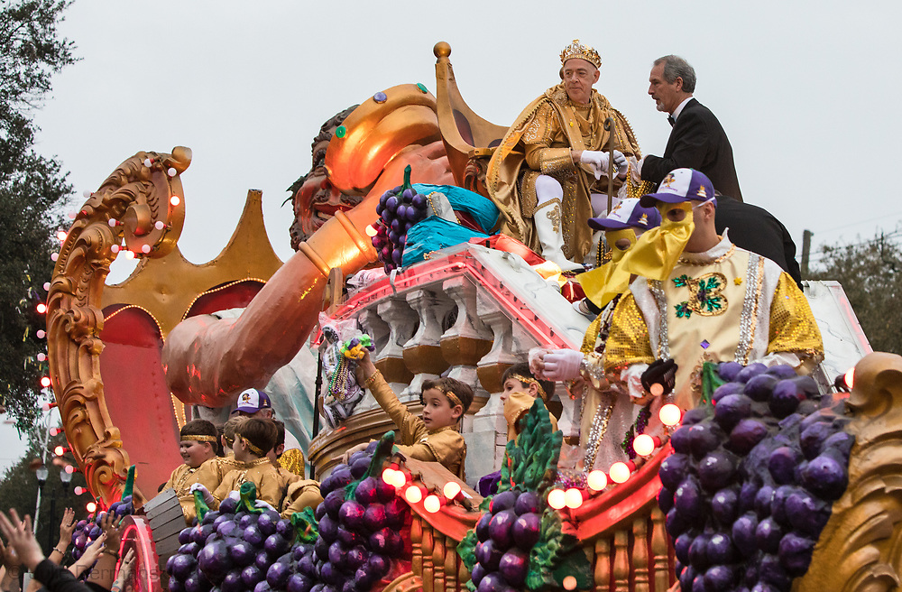 Febuary 11. 2018, New Orleans:  Academy-Award winning actor J.K. Simmons as the King of Bacchus  XLX in the 2018  Mardis Gras season on top of the lead float in the parade.
