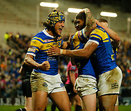 Kallum Watkins (R) of Leeds Rhinos celebrates scoring his teams 3rd Try against Hull FC with team mate Ashton Golding (L) during the Betfred Super League match at Emerald Headingley Stadium, Leeds<br /> Picture by Stephen Gaunt/Focus Images Ltd +447904 833202<br /> 08/03/2018