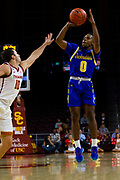 South Dakota State Jackrabbits guard Brandon Key (0) shoots the ball in the first half against the Southern California Trojans during an NCAA basketball game, Tuesday, Nov. 12, 2019, in Los Angeles. USC defeated South Dakota State 84-66. (Brandon Sloter/Image of Sport)