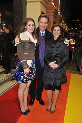 ANTHONY ANDREWS with his wife GEORGINA and their daughter JESSICA arrive at the press night of the new Andrew Lloyd Webber  musical 'The Wizard of Oz' at The London Palladium, Argylle Street, London on 1st March 2011 followed by an aftershow party at One Marylebone, London NW1