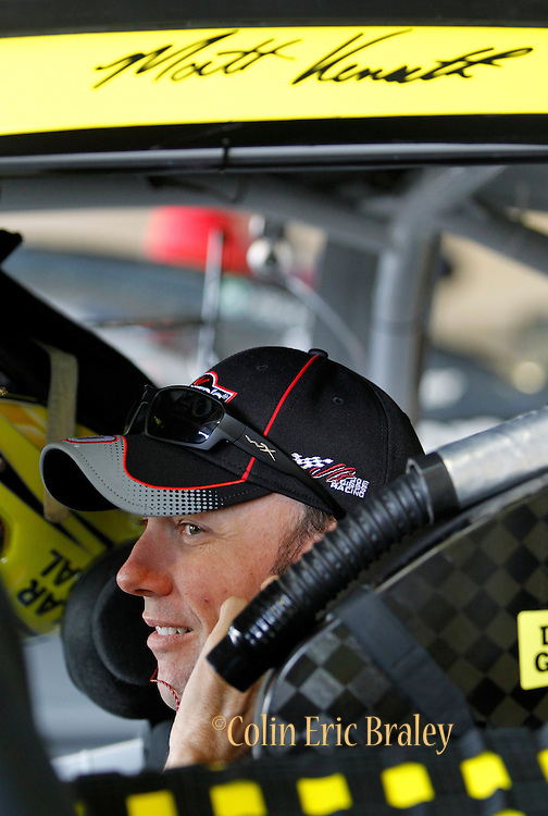 NASCAR Sprint Cup Series auto racing driver Matt Kenseth get ready for a practice run at Kansas Speedway in Kansas City, Kan., Saturday, Oct. 17, 2015. (AP Photo/Colin E. Braley)