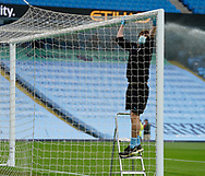 Crossbars and goalposts are sterilised before the game startdduring the Premier League match at the Etihad Stadium, Manchester. Picture date: 22nd February 2020. Picture credit should read: Andrew Yates/Sportimage