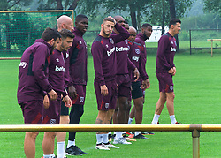 25.07.2017, Trainingsplatz TuS Bothel, Bothel, GER, Trainingslager, West Ham United, im Bild Marco Arnautovic, Mitte, kratzt sich am Kopf // during a trainingsession at the trainingscamp of the English Premier League Football Club West Ham United at the Trainingsplatz TuS Bothel in Bothel, Germany on 2017/07/25. EXPA Pictures &copy; 2017, PhotoCredit: EXPA/ Andreas Gumz<br /> <br /> *****ATTENTION - OUT of GER*****