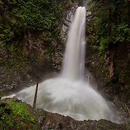 Cascade Falls as seen from the second viewing platform in Cascade Falls Regional Park near Durieu, British Columbia, Canada