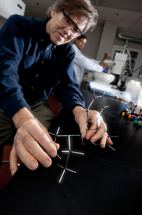 Victor Snieckus illustrating chemical bonds with lego