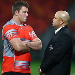 PORT ELIZABETH, SOUTH AFRICA - MAY 27: Steven Sykes (captain) of the Southern Kings with Deon Davids (Head Coach) of the Southern Kings during the Super Rugby match between Southern Kings and Jaguares at Nelson Mandela Bay Stadium on May 27, 2016 in Port Elizabeth, South Africa. (Photo by Steve Haag/Gallo Images)