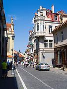 Looking down Pilies Gatve, in Senamiestyje/Old Town, Vilnius, Lithuania