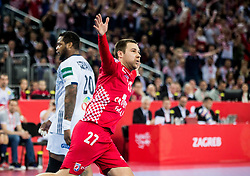 Ivan Cupic of Croatia celebrates during handball match between National teams of Croatia and France on Day 7 in Main Round of Men's EHF EURO 2018, on January 24, 2018 in Arena Zagreb, Zagreb, Croatia.  Photo by Vid Ponikvar / Sportida