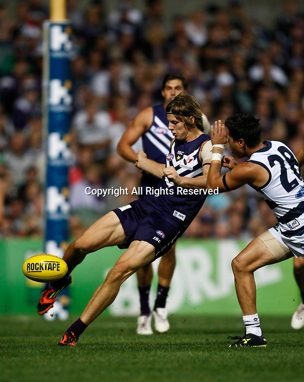 31.03.2012 Subiaco, Australia. Fremantle v Geelong. Nathan Fyfe in action during the Round 1 game played at  Patersons Stadium.
