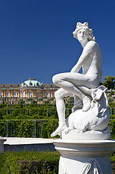Statue in gardens at Sanssouci palace in Potsdam Germany