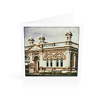Photo Art Greeting Card | New England Collection | Inverell Court House | Printed on lightly textured matte art paper stock, blank inside. White envelope included, packaged in sealed poly bag. Dimensions: Card 123 x 123mm. Envelope 130 x 130mm.<br /> <br /> Click &quot;Add to Cart&quot; to compose your own mix of 5 or 10 cards from this collection.