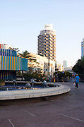 Israel, Tel Aviv Dizengoff circle in centre Tel Aviv, with a moving statue by Agam with Dizengoff center in the background