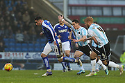 Chesterfield FC forward Lee Novak heads for goal during the Sky Bet League 1 match between Chesterfield and Shrewsbury Town at the Proact stadium, Chesterfield, England on 2 January 2016. Photo by Aaron Lupton.