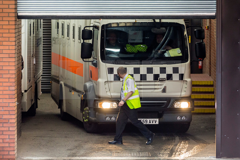 "© Licensed to London News Pictures. 14/11/2018. Leeds UK. A prison van believed to be transporting Charles Bronson from HMP Frankland arrives at Leeds Crown Court this morning. Bronson age 65 ""Britain's most violent prisoner"" is on trial at Leeds Crown Court charged with attempting to cause grievous bodily harm with intent to HMP Wakefield Governor Mark Docherty on January the 25th. Bronson is defending himself in court & is standing trial under the name Charles Salvador.  Photo credit: Andrew McCaren/LNP"