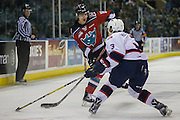 KELOWNA, CANADA - NOVEMBER 26:  Kole Lind #16 of the Kelowna Rockets and James Hilsendager #3 of the Regina Pats at the Kelowna Rockets game on November 26, 2016 at Prospera Place in Kelowna, British Columbia, Canada.  (Photo By Cindy Rogers/Nyasa Photography,  *** Local Caption ***