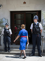 © Licensed to London News Pictures. 21/06/2017. London, UK. Police stand on duty outside the King Edward VII's hospital in west London where Prince Philip, The Duke of Edinburgh has been admitted to hospital following an an infection. Photo credit: Peter Macdiarmid/LNP