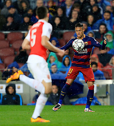 Neymar of Barcelona chests the ball ahead of Arsenal's Gabriel Paulista  - Mandatory byline: Matt McNulty/JMP - 16/03/2016 - FOOTBALL - Nou Camp - Barcelona,  - FC Barcelona v Arsenal - Champions League - Round of 16