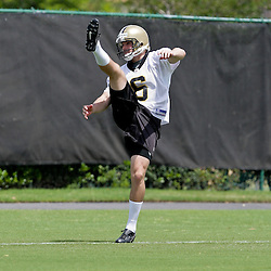 08 May 2009: Saints fifth-round selection punter Thomas Morstead (6) from Southern Methodist participates in drills during the New Orleans Saints  rookie minicamp held at the team's practice facility in Metairie, Louisiana.