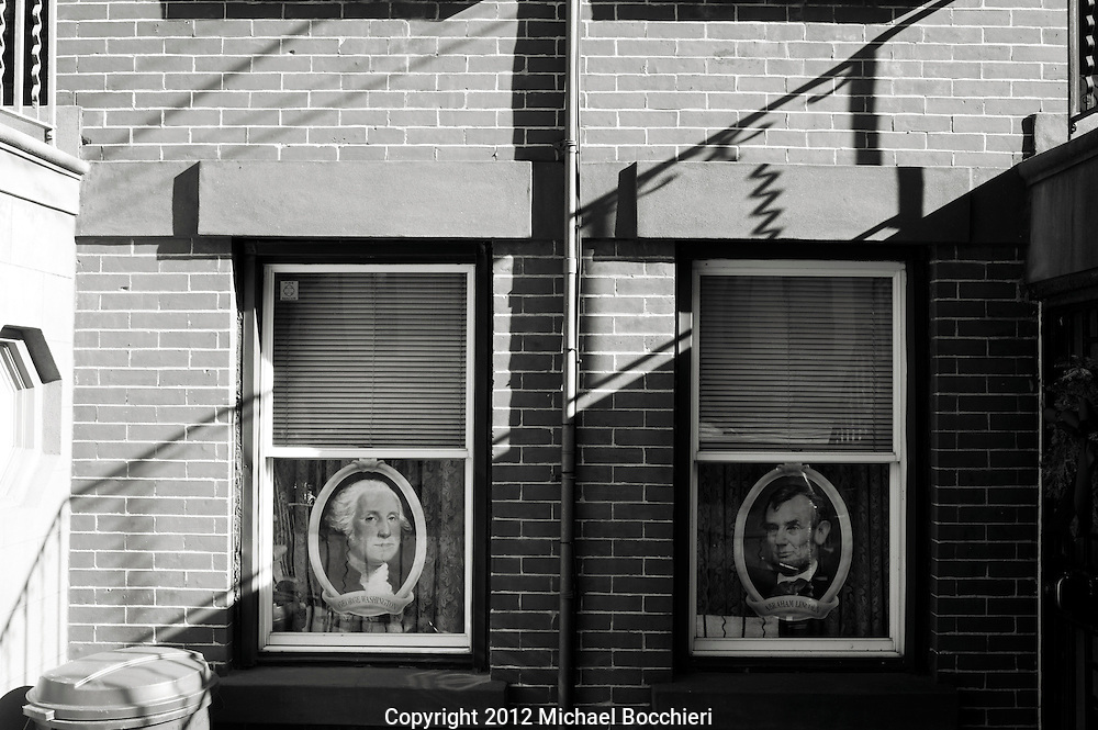 HOBOKEN, NJ - February 03:  Pictures of presidents are displayed in a window on February 03, 2012 in HOBOKEN, NJ.  (Photo by Michael Bocchieri/Bocchieri Archive)