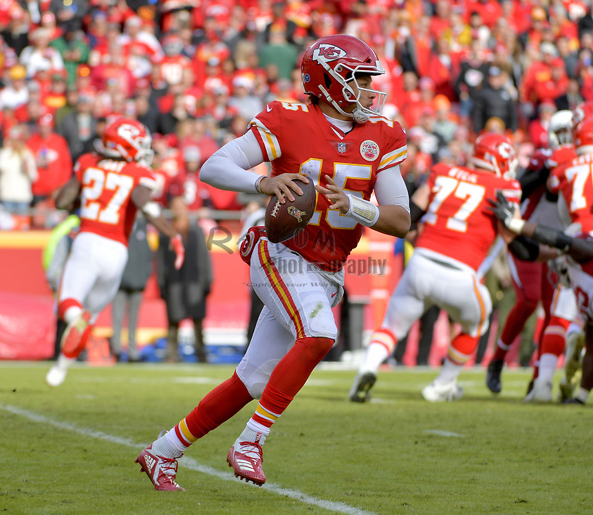 Nov 11, 2018; Kansas City, MO, USA; Kansas City Chiefs quarterback Patrick Mahomes (15) drops back to pass during the second half against the Arizona Cardinals at Arrowhead Stadium. The Chiefs won 26-14. Mandatory Credit: Denny Medley-USA TODAY Sports