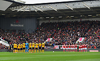 Football - 2018 / 2019 Emirates FA Cup - Fifth Round: Bristol City vs. Wolverhampton Wanderers<br /> <br /> Players observe a minute's silence for Gordon Banks OBE who died earlier this week, at Ashton Gate.<br /> <br /> COLORSPORT/ASHLEY WESTERN