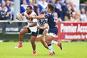Bradford Bulls winger Iliness Macani (5) in action  during the Kingstone Press Championship match between Swinton Lions and Bradford Bulls at the Willows, Salford, United Kingdom on 20 August 2017. Photo by Simon Davies.