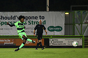 Forest Green Rovers Daniel Ogunleye(11) takes a penalty and saved during the FA Youth Cup match between U18 Forest Green Rovers and U18 Cheltenham Town at the New Lawn, Forest Green, United Kingdom on 29 October 2018.