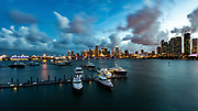 Aerial view of a Marina in Miami, Florida, USA
