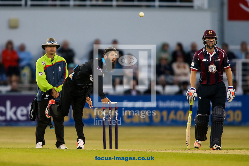 Moeen Ali of Worcestershire Rapids (centre) in delivery stride during the Natwest T20 Blast match at the County Ground, Northampton<br /> Picture by Andy Kearns/Focus Images Ltd 0781 864 4264<br /> 05/06/2015