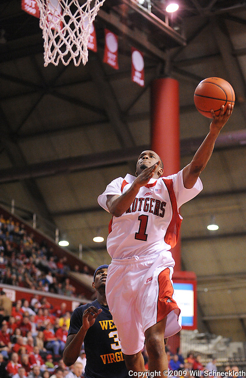 Feb 22, 2009; Piscataway, NJ, USA; Rutgers guard Corey Chandler (1) puts up a layup during the second half of Rutgers' 74-56 loss to West Virginia at the Louis Brown Athletic Center.