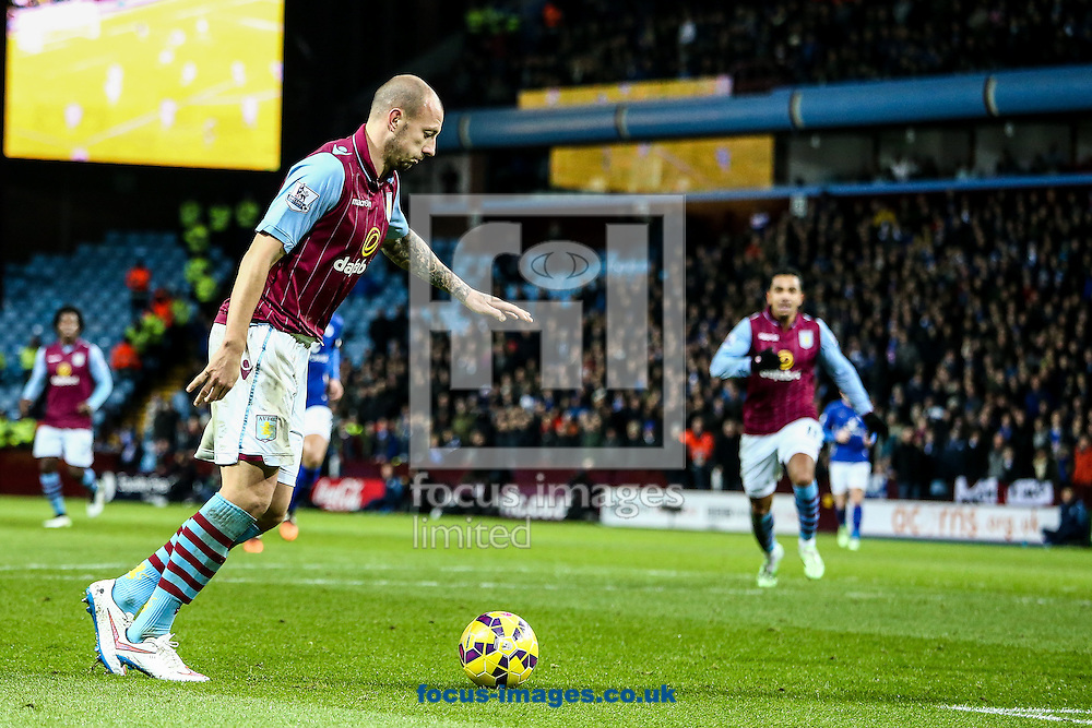 Alan Hutton of Aston Villa scores their second goal during the Barclays Premier League match at Villa Park, Birmingham<br /> Picture by Andy Kearns/Focus Images Ltd 0781 864 4264<br /> 07/12/2014