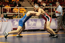London, Ontario ---2013-03-02---  Gabriel Turestsky of  Brock takes on  Scott Christian of  Lakehead in the men's 72 KG 5th/6th match at the 2012 CIS Wrestling Championships in London, Ontario, March 02, 2013. .GEOFF ROBINS/Mundo Sport Images