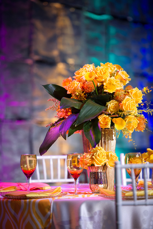 Colorful table decoration in Baltimore, Maryland, USA