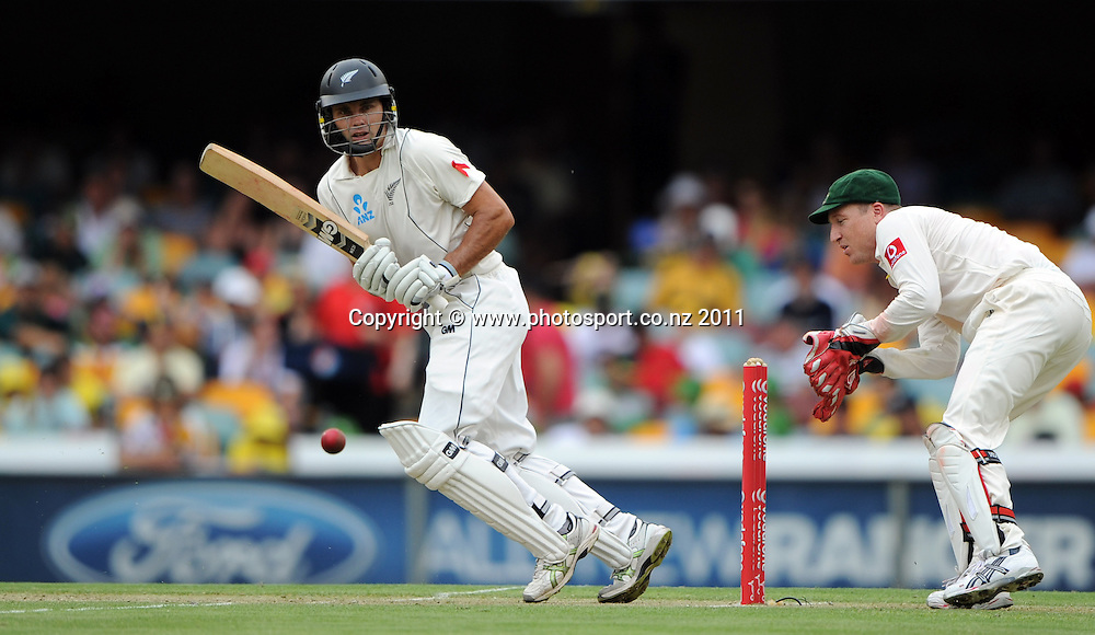 Dean Brownlee batting on Day 1 of the first cricket test between Australia and New Zealand Black Caps at the Gabba in Brisbane, Thursday 1 December 2011. Photo: Andrew Cornaga/Photosport.co.nz