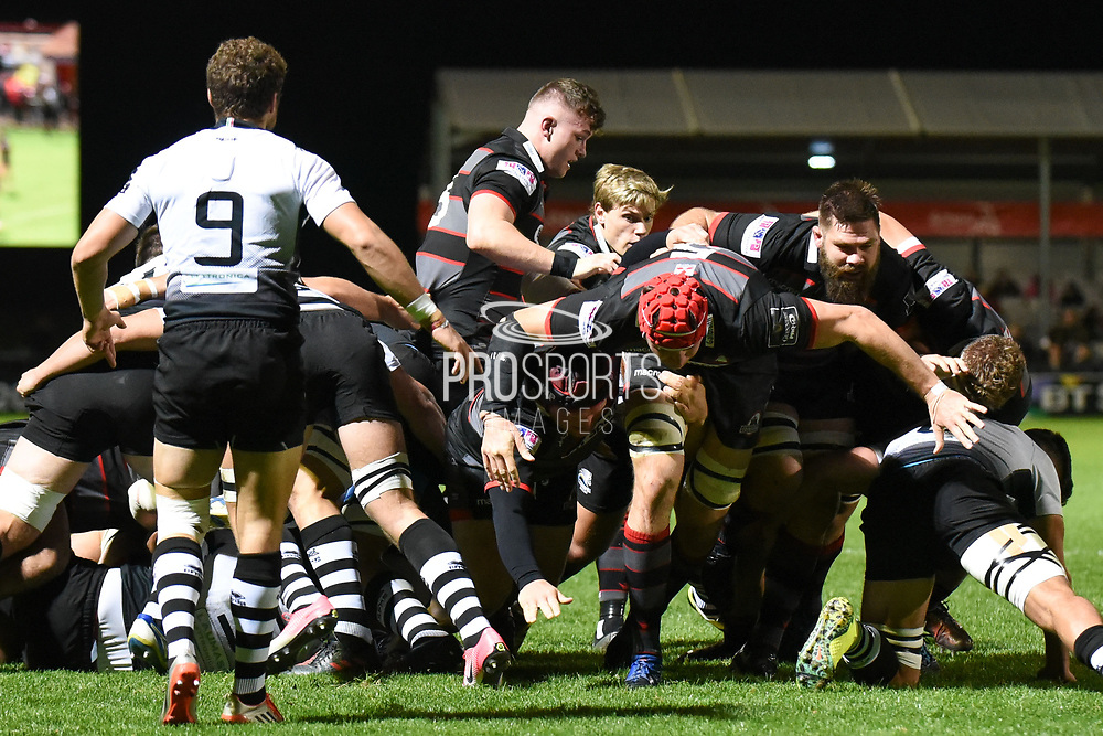 Edinburgh's pack drives forward during the Guinness Pro 14 2017_18 match between Edinburgh Rugby and Zebre at Myreside Stadium, Edinburgh, Scotland on 6 October 2017. Photo by Kevin Murray.