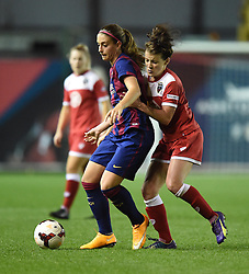 FC Barcelona's Laura Rafols holds off the ball Bristol Academy Womens' Angharad James - Photo mandatory by-line: Paul Knight/JMP - Mobile: 07966 386802 - 13/11/2014 - SPORT - Football - Bristol - Ashton Gate Stadium - Bristol Academy v FC Barcelona - UEFA Women's Champions League