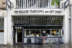 Exterior of famous Willow Tearooms designed by Charles Rennie Macintosh on Sauchiehall Street in Glasgow Scotland United Kingdom