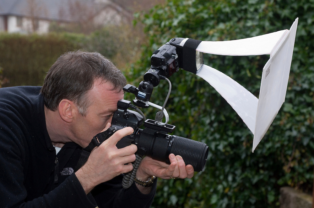 Niall Benvie using home-made flash rig for insect photography