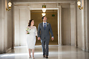 Melissa and Josh H. celebrate their marriage at San Francisco City Hall in San Francisco, California, on February 22, 2019. (Stan Olszewski/SOSKIphoto)