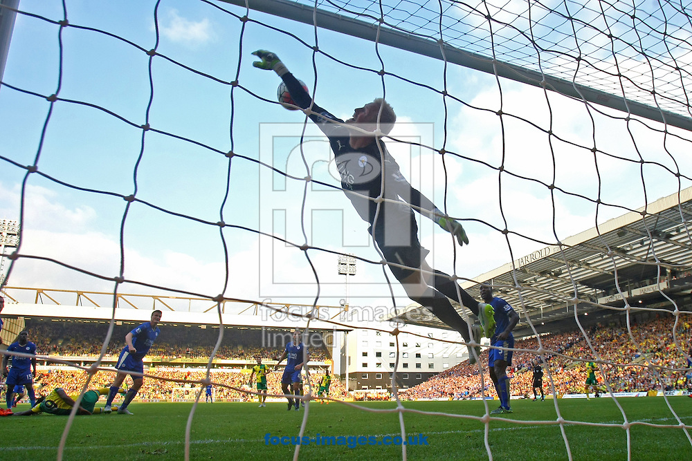 Kasper Schmeichel of Leicester City makes a world class save from a header by Dieumerci Mbokani of Norwich during the Barclays Premier League match at Carrow Road, Norwich<br /> Picture by Paul Chesterton/Focus Images Ltd +44 7904 640267<br /> 03/10/2015