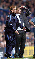 Photo. Jed Wee, Digitalsport<br /> NORWAY ONLY<br /> <br /> Everton v Bolton Wanderers, FA Barclaycard Premiership, 08/05/2004.<br /> Everton manager David Moyes (L) and Bolton counterpart Sam Allardyce struggle to get their teams playing football in a contest that revealed why both teams ended in the bottom half of the table.