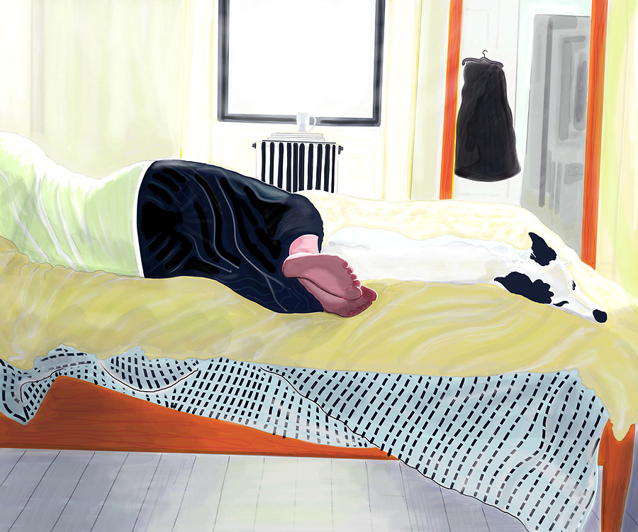 barefoot woman and dog napping on bed at home in mid day