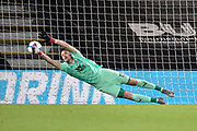 Wayne Hennessey (13) of Crystal Palace dives the right way but is beaten by the shot from David Brooks (7) of AFC Bournemouth in the penalty shootout during the EFL Cup match between Bournemouth and Crystal Palace at the Vitality Stadium, Bournemouth, England on 15 September 2020.
