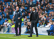 Manager Chris Hughton issues instructions from the touchline during the Sky Bet Championship match between Brighton and Hove Albion and Preston North End at the American Express Community Stadium, Brighton and Hove, England on 24 October 2015. Photo by Bennett Dean.