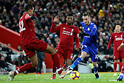 Leicester City midfielder James Maddison (10) takes on Liverpool defender Joel Matip (32) during the Premier League match between Liverpool and Leicester City at Anfield, Liverpool, England on 30 January 2019.