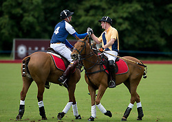 © London News Pictures. 16/06/2013. Tetbury, UK. Prince William (Left) and Prince Harry (right) shake hands after taking part in a charity polo event at Beaufont Polo Club in Tetbury, Gloucestershire. Photo credit: Ben Cawthra/LNP