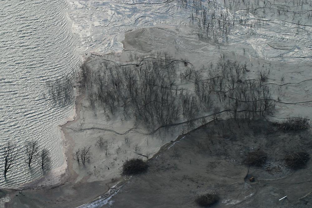 Aerial of gold mine near Puerto Aysen, Chile, Feb. 8, 2004. Daniel Beltra/Greenpeace.