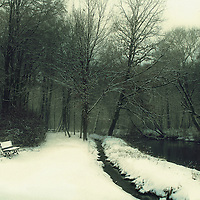 A landscape with a wood or garden in winter,  a little bench on the left, covered with snow, and a river bank on the right.