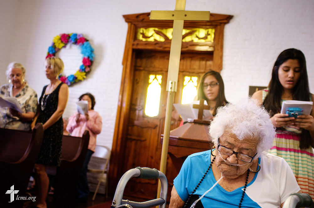 Trinidad Loredo, a guest from her parish at St. Paul Lutheran Church, McAllen, Texas, attends the installation service for the Rev. Dr. Antonio Lopez, new national missionary pastor at El Calvario Lutheran Church on Sunday, July 31, 2016, at the parish in Brownsville, Texas. LCMS Communications/Erik M. Lunsford